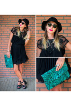 black embellished Chicwish dress - black wool fedora Missguided hat