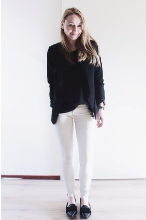 black basic Zara blazer - white coated Zara jeans - black sheer Mango top