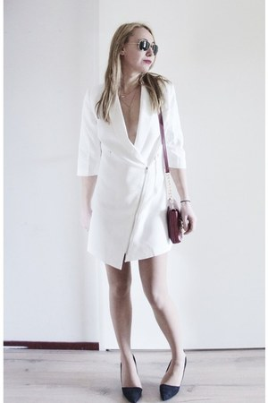 white blazer Sheinside dress - red leather Greg Michaels bag