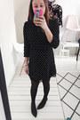 Black-ankle-boots-zara-boots-navy-polkadot-gamiss-dress
