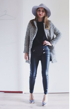 black houndstooth coat - silver felt asos hat - black faux leather Zara pants