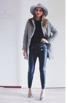 black houndstooth coat - silver felt asos hat - black faux leather Zara pants