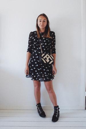 black buckle Sacha boots - navy star print Aliexpress dress