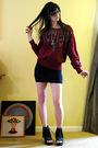 Red-vintage-sweater-black-vintage-skirt
