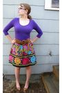 Purple-h-m-top-anthropologie-skirt-brown-modcloth-shoes-brown-urban-outfit