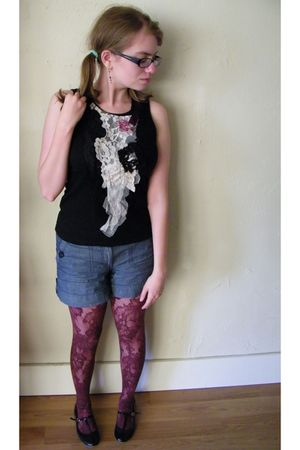 black Seaplane top - blue H&M shorts - purple gifted tights - black Urban Outfit