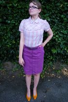 pink Urban Outfitters blouse - purple Target skirt - orange thrifted shoes - red