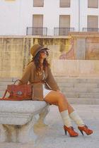 Zara bag - Sfera cardigan - pullandbear hat - Formula Joven shoes - vintage dres