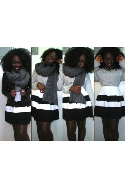 white Express skirt - charcoal gray H&M sweater - silver H & M scarf
