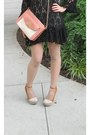 Black-thrifted-dress-tawny-leather-purse-flirtnation-bag