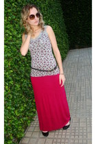 hot pink viscose skirt - black paetes shoes - light brown sunglasses
