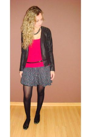 black jacket - hot pink top - dark gray skirt