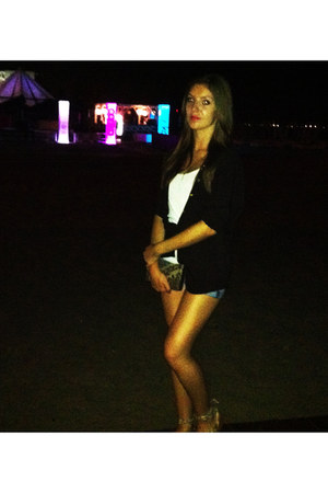 black Bershka shirt - white Bershka shirt - silver Bershka shorts