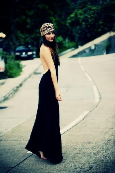 gold sequin turban Disco Pony accessories - black open back asos dress