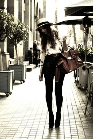 cream straw boater H&M hat - ivory horse head Zara shirt - dark brown alexa Mulb