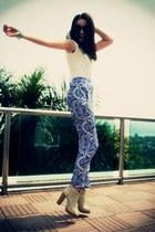 blue silk patterned Disco Pony pants