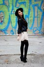 Topshop-dress-fedora-vintage-hat-leather-bershka-jacket-suspender-house-of