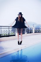 black fedora vintage hat - dark gray fringe detail Botique dress