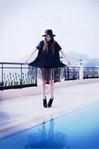 black fedora vintage hat - dark gray fringe detail Botique dress