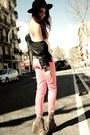 Fedora-vintage-hat-leather-bershka-jacket-acne-wedges-zip-side-zara-pants-