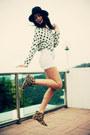 Camel-zara-boots-black-vintage-hat-white-polka-dot-vintage-thrifted-shirt