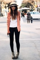 heather gray velcro strap acne wedges - salmon blazer H&M jacket