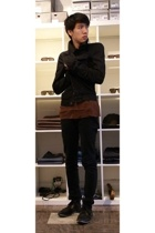DRKSHDW jacket - Rick Owens top - Vroom top - Cheap Monday jeans - Gram shoes