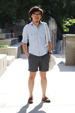 H&M shirt - H&M shorts - sperry shoes - YMC purse