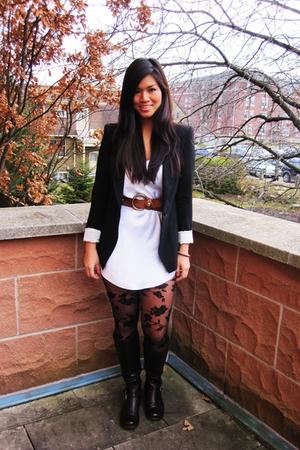 black Zara blazer - white vintage blouse - brown vintage belt - black Urban Outf