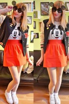 black mickey mouse sunglasses - white mickey mouse t-shirt - red skirt