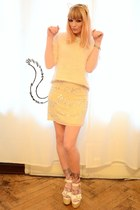 neutral fluffy sweater - cream cat ears hair accessory - eggshell sequin skirt