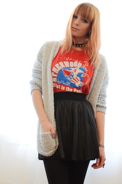 black leather skirt - light blue fluffy cardigan