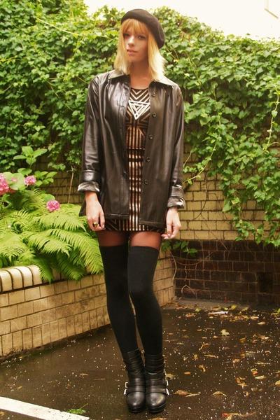 bronze metallic dress - black leather jacket