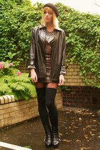 bronze metallic dress - black leather jacket