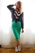 green skirt - top