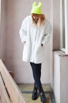 white faux fur coat - yellow cat ears hat