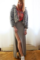 heather gray faux fur jacket