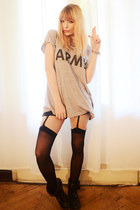 heather gray t-shirt - black suspenders stockings