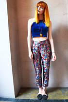 blue velvet top - black studded velvet loafers - baroque print pants