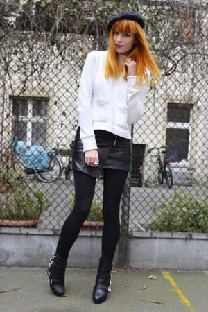 black skirt - eggshell sweater