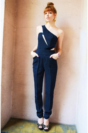 navy overalls Three Floor jumper