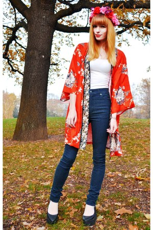 red silk kimono vintage coat - navy Cheap Monday jeans