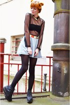 black mesh top - black flatform boots - sky blue denim skirt