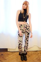 black top - flower print pants