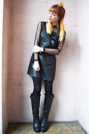black boots - black BANK FASHION dress