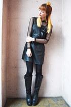 black boots - black BANK FASHION dress