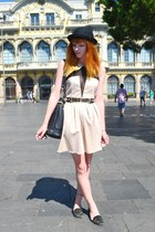 cream dress - black ear bowler hat