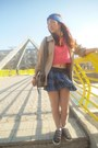 Tan-jacket-blue-abbey-dawn-skirt-hot-pink-top-black-dc-sneakers