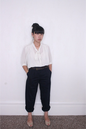 beige flats vintage shoes - blue Dockers pants - brown Forever 21 belt