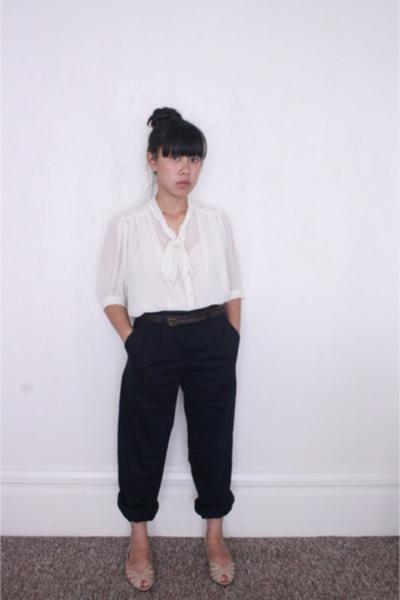 beige flats vintage shoes - blue Dockers pants - brown Forever 21 belt